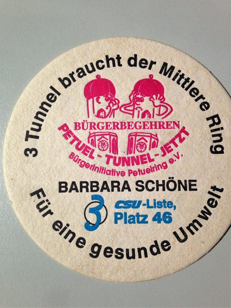 Bierdeckel des Bürgerbegehren Petuel Tunnel von Barbara Schöne, Stadträtin a.D.