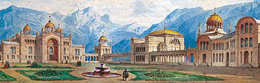 Entwurf eines Byzantinischen Palastes, Aquarell von G. Dollmann,1869