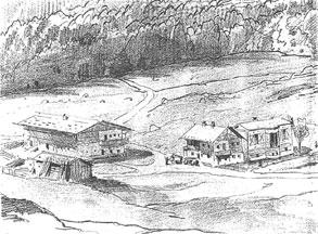 Bleistiftskizze von 1871: Königshäuschen (Bauphase 1) mit Flügelanbau (Bauphase 2) neben dem Bauernhaus des Linderhofes