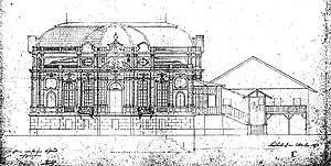 Plan für die Westfassade von 1873 nach der Steinummantelung (Bauphase 4) mit dem noch bestehenden Königshäuschen