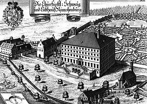Kupferstich Ansicht Schloss Nymphenburg von Michael Wening, 1701