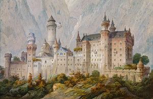 Idealentwurf zu Schloss Neuschwanstein von Christian Jank, 1869