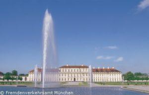 Wasserfontäne im Schlossspark des Neuen Schlosses Schleißheim