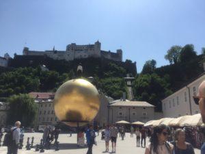 Festung Hohensalzburg und Blick auf die Festungsbahn