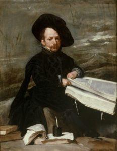 Gemälde Diego Velázquez  Hofnarr mit Buch auf den Knien als Leihgabe im Kunsthalle