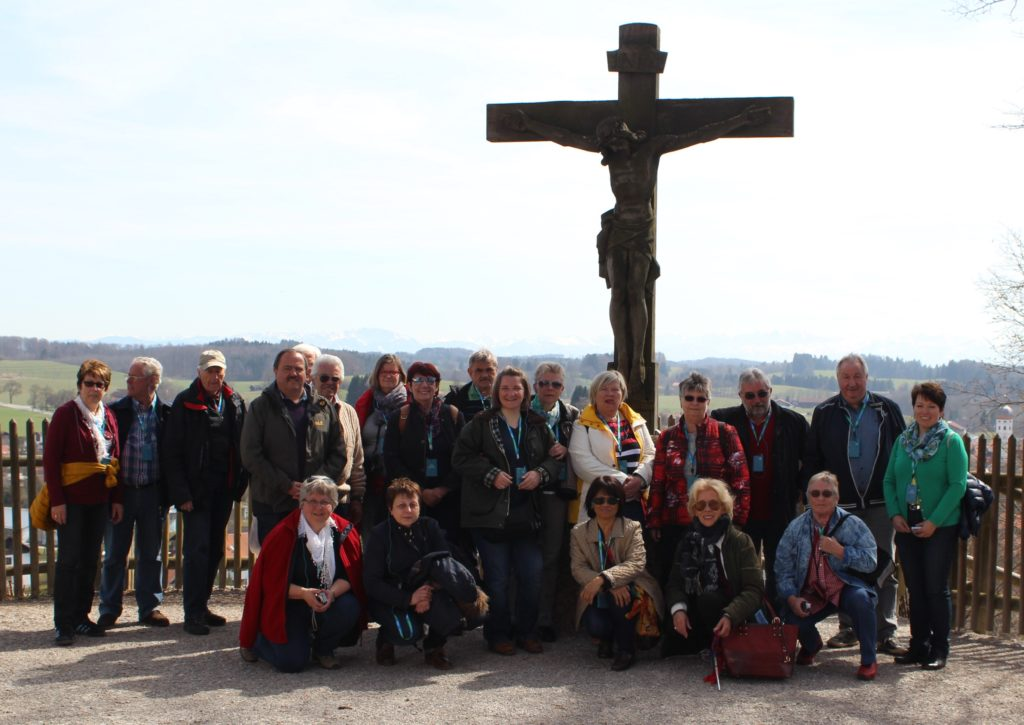 Jesus Christ - a wooden sculpture In the Free State of Bavaria the  catholic believe dominates, especially in the countryside. My tourist group was very pleased to get this group photo.