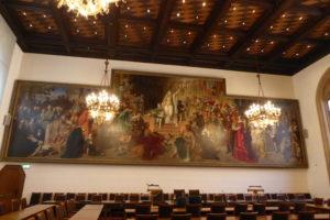 Großer Sitzungssaal mit Gemälde der Monachia von Carl v. Piloty