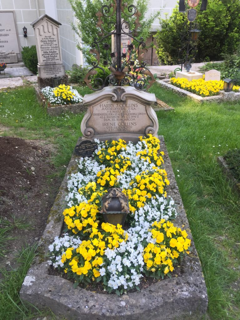 St. Peters Cemetery - the tomb of Mayor General Harry J. Collins/USA who saved Salzburg of being destroyed by Wolf War II bomb attacks.