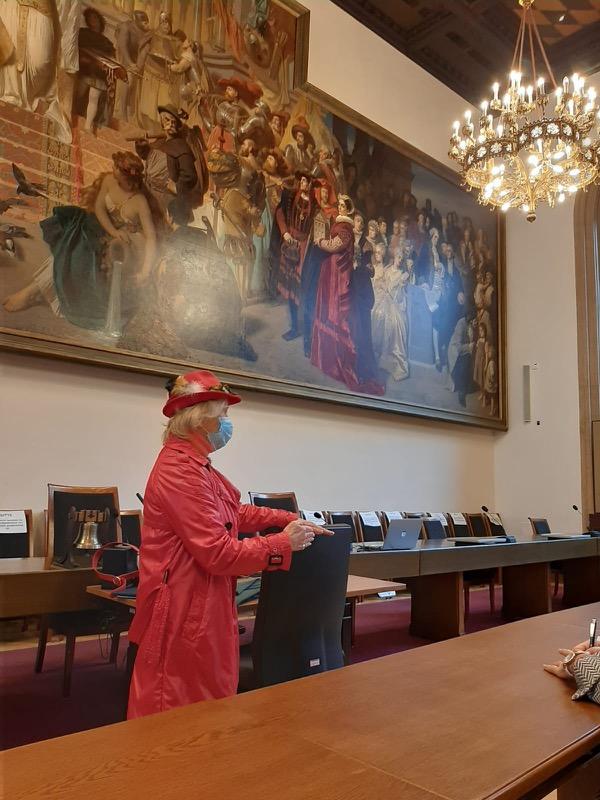 """Großer Sitzungssaal mit dem Mammutgemälde von Carl v. Piloty """"Monachia"""""""